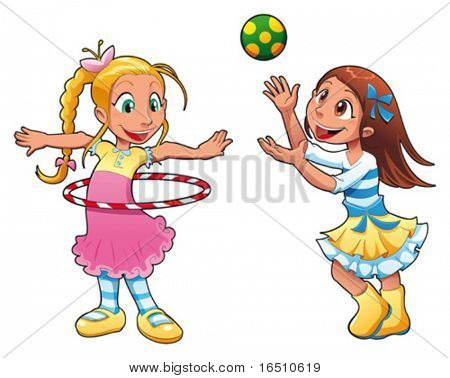 Two girls are playing. Funny cartoon and vector characters