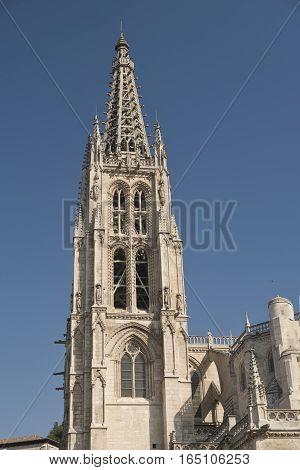 Burgos (Castilla y Leon, Spain): belfry of the historic cathedral