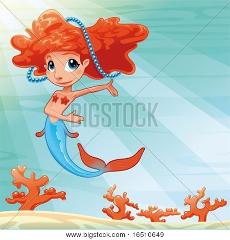 Young mermaid with background. Funny cartoon and vector mythological illustration.