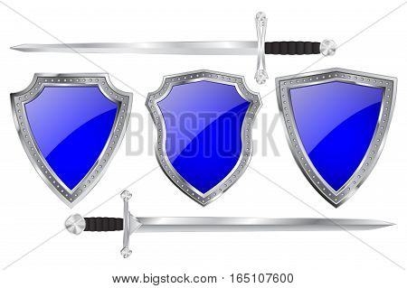 Blue shields with metal frames. With swords. Vector illustration isolated on white background