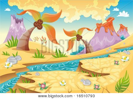 Background with tree palms and volcanoes. Funny cartoon and vector illustration.