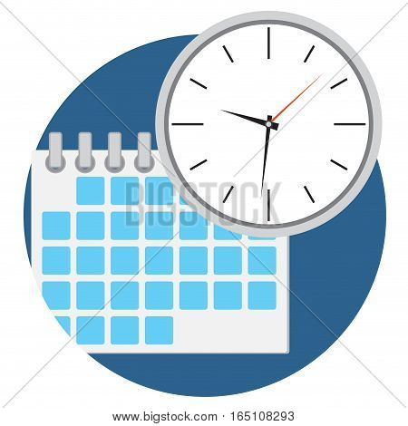 Business time icon. Calendar and clock vector illustration