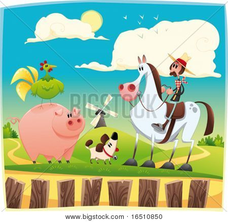 Funny farmer with animals. Cartoon and vector illustration. Objects isolated.