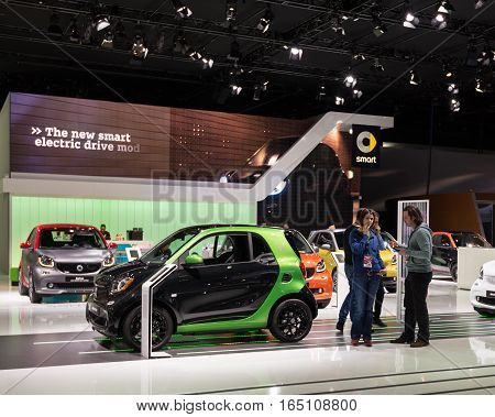 DETROIT MI/USA - JANUARY 10 2017: Smart marque exhibit at the North American International Auto Show (NAIAS).