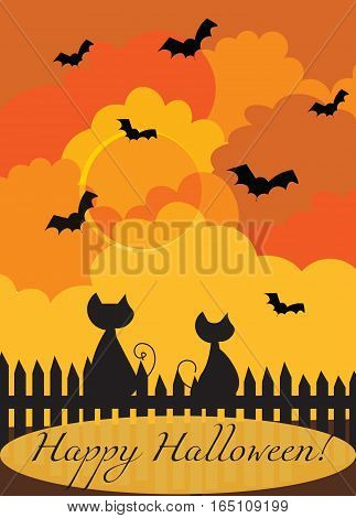 Happy Halloween card Vector. Silhouettes of cats at dawn
