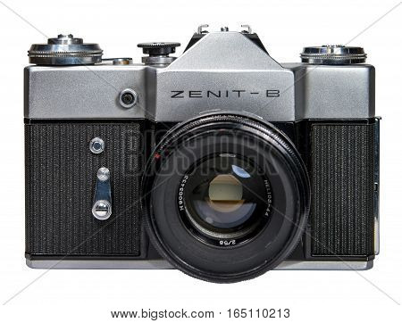Gatchina, Russia - January 14, 2017: The old Soviet film camera Zenit. Object isolated on white background. Front view.