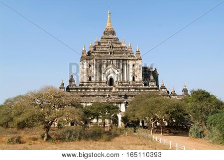 The temple of Thatbyinnyu at the archaeological site of Bagan on Myanmar