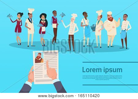 Hands Hold CV Profile Resume Choose from Restaurant Stuff Cook Waiters Service Mix Race Group Banner Flat Vector Illustration