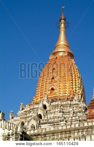 The golden stupa of Ananda temple at Bagan on Myanmar