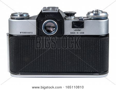 Gatchina, Russia - January 14, 2017: The old Soviet film camera Zenit. Object isolated on white background. Back view.