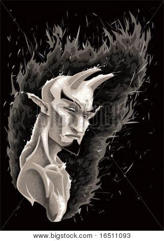 Dark Demon. Vector illustration, isolated character.
