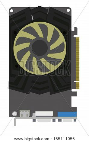 Computer video card on white background. Flat vector isolated illustration