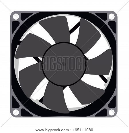 A computer fan on a white background. Flat vector isolated illustration