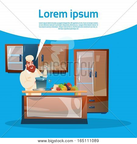 Restaurant Stuff Chef Cook Service Cooking Food Kitchen Interior Flat Vector Illustration