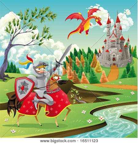 Panorama with medieval castle, dragon and knight. Cartoon and vector illustration