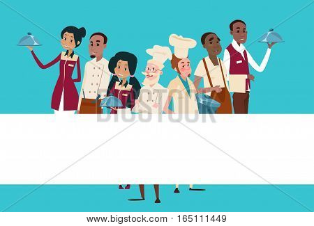 Restaurant Stuff Cook And Waiters Service Mix Race Group Banner Flat Vector Illustration
