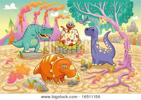 Group of funny dinosaurs in a prehistoric landscape. Cartoon and vector isolated characters on background