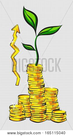 Income increase concept golden coins stacks with money tree and up pointer retro style vector illustration