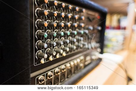 Close up view of music mixer. Close up