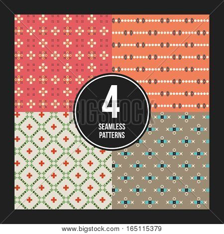 Set Of 4 Colorful Pixelated Patterns. Childish Style. Useful For Wrapping And Textile Design.