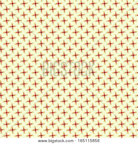 Cute Pixelated Pattern With Simple Geometric Shapes. Useful For Textile And Interior Design.