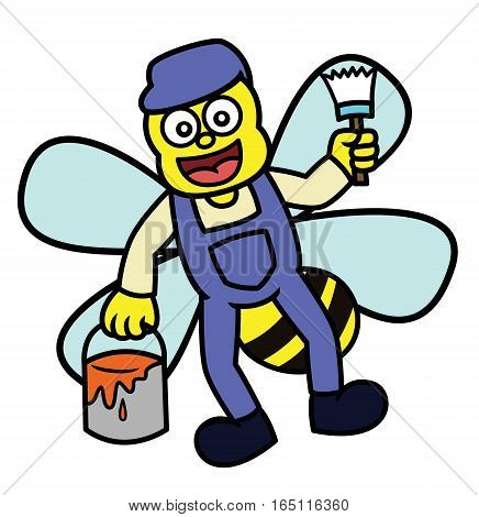 Bee Painter with Paint Bucket and Brus Cartoon