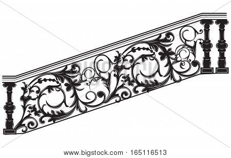 Stair railing Vector. Wrought iron stairs railing