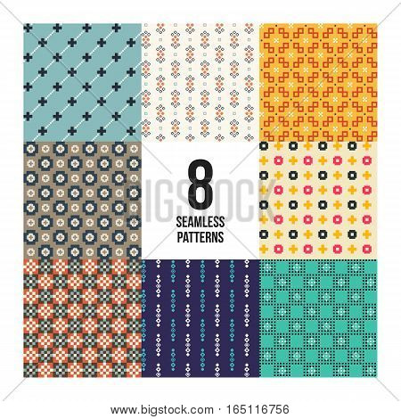 Set Of 8 Colorful Pixelated Patterns. Childish Style. Useful For Wrapping And Textile Design.