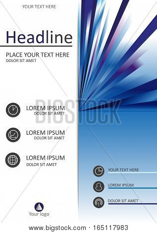 Report cover design. A4. Good for books journals banners conferences flyers and print production. Vector illustration with futuristic lines. Publishing industry.