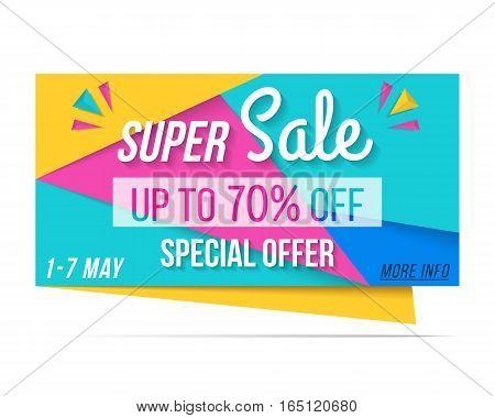Super sale banner, 70% off, special offer, vector eps10 illustration