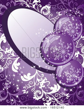 Vector version. Balls. Christmas and holiday background. Decor balls, stars, rays and pattern on a purple background.