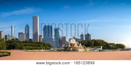Buckingham Fountain and the Loop skyscrapers in the background. View from Grant Park Chicago US