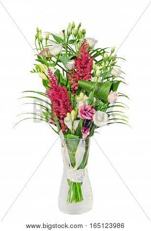 Bouquet Of Pink, White Eustoma, Lisianthus Flowers And Red Astilbe Flowers Known As False Goats Bear