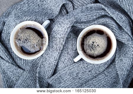 Top View Of Two White Cups With Hot Coffee