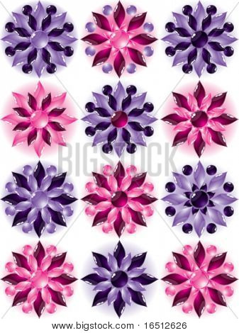 Vector  Set of glass flowers (Raster version 25481980)