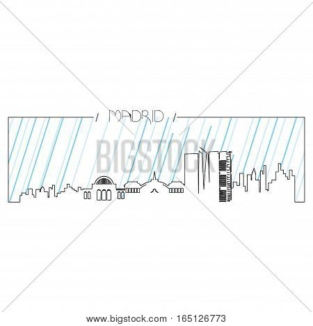 Isolated abstract skyline of Madrid, Vector illustration