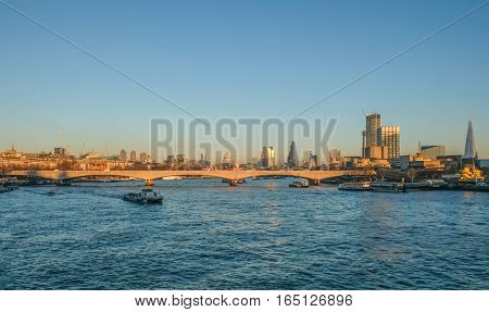 London skyline of Waterloo Bridge and the City. Taken on a bright sunny December day in the late afternoon.