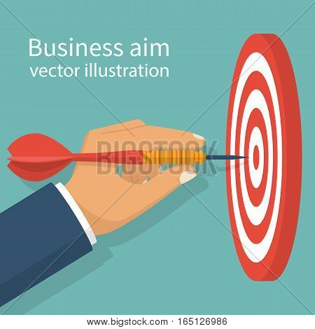 Business achievement, success concept. Businessman holding dart hitting the target. Aim in business. Vector illustration flat design.