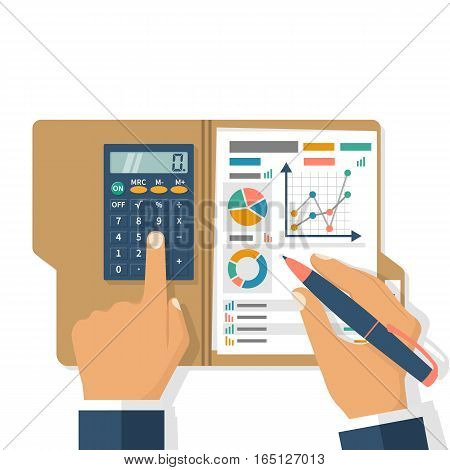 Business planning concept. Businessman holding folder and pen research charts, graphs, analyzing project, strategy, development, financial management, marketing research, statistic, solution. Vector