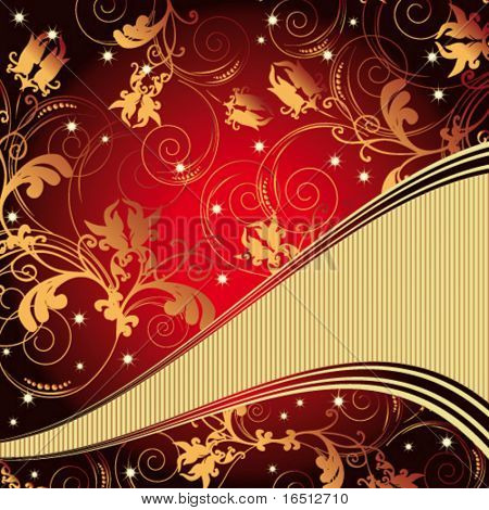 Vector  Vintage floral background Red and Gold
