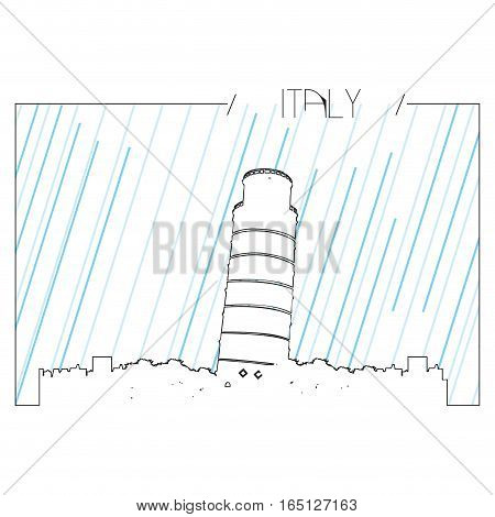 Isolated abstract skyline of Pisa, Vector illustration