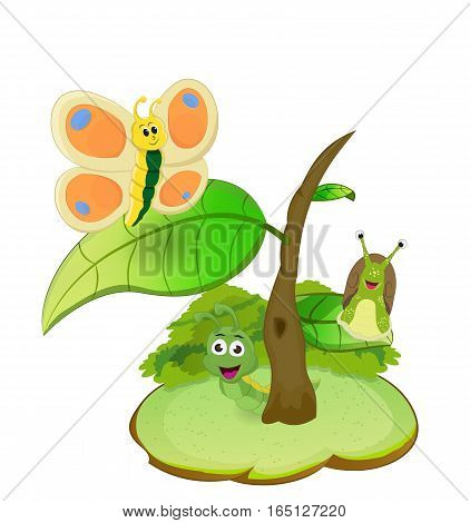 illustration insect living together in small tree