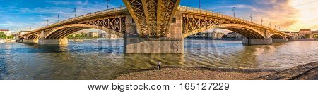 Three way bridge connecting the Margaret island with Buda and Pest across Danube. Budapest Hungury