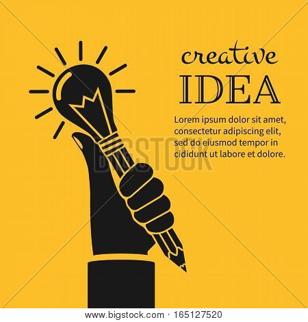 Creative ideas concept. Hand holding pencil light bulb, silhouette icon. Innovation, solution. Success in education, art, work project. Vector illustration flat design. Isolated on yellow background.