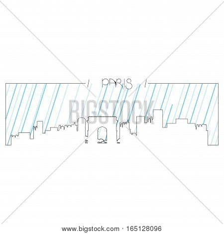 Isolated abstract skyline of Paris, Vector illustration