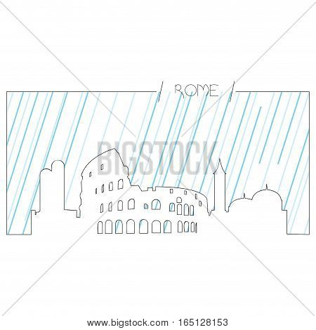 Isolated abstract skyline of Rome, Vector illustration