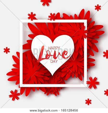 Global Love romantic holiday. Happy Valentines Day Greeting card. Paper cut red flower and heart frame with space for text. Vector floral weeding design illustration. 14 february