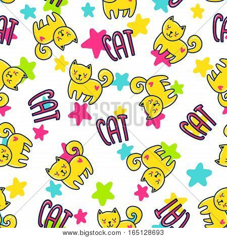 Doodles cute seamless pattern. Color vector background. Illustration with cats and stars. Design for T-shirt, textile and prints.