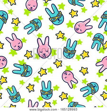 Doodles cute seamless pattern. Color vector background. Illustration with rabbit and stars. Design for T-shirt, textile and prints.