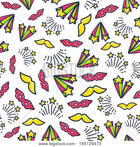 Doodles cute seamless pattern. Color vector background. Illustration with mask nd stars. Design for T-shirt, textile and prints.